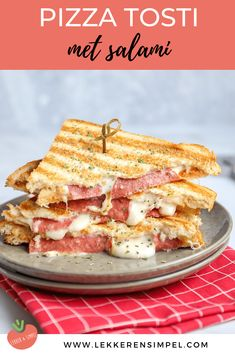 Pizza sandwich with salami - On the table in 10 minutes! - Tasty and Simple - Do you like sandwiches but don& feel like a ham cheese sandwich? Try this sandwich with salam - Easy Healthy Recipes, Easy Meals, Yummy Snacks, Yummy Food, Lunch To Go, High Tea, Just In Case, Good Food, Food Porn
