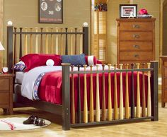 Baseball Bed Super Cute my son had this bed in his room! Bedroom Themes, Bedroom Decor, Bedroom Ideas, Baseball Bed, Baseball Stuff, Baseball Bat Headboard, Espn Baseball, Baseball Gloves, Baseball Crafts