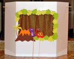 Another puppet theater made from tri-fold foam project board. Love those stick puppets!