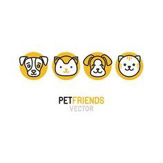 Vector logo design template para mascotas tiendas - ilustración de arte vectorial