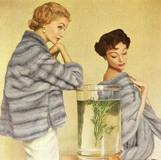 Sunny Harnett and Ivy Nicholson in Emba platinum mink by Ritter Bros., as seen in Vogue 1953