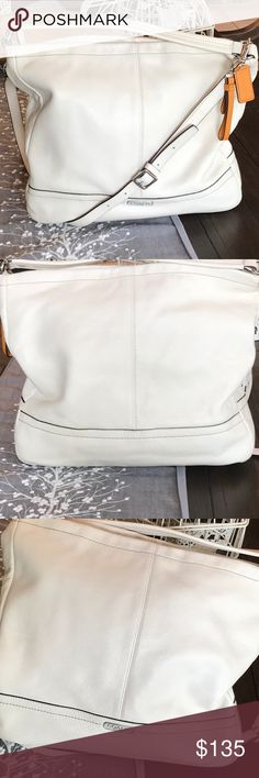 Coach white purse Crossbody or shoulder Beautiful in great condition coach White leather clean inside and out to small marks on bottom as seen in picture otherwise a very clean beautiful bag Has been used this was my personal purse Coach Bags Crossbody Bags
