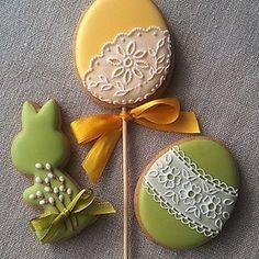 ideas cake cookies no eggs flower Fancy Cookies, Iced Cookies, Cute Cookies, Easter Cookies, Easter Treats, Sugar Cookies, Bolacha Cookies, Galletas Cookies, Biscuit Decoration