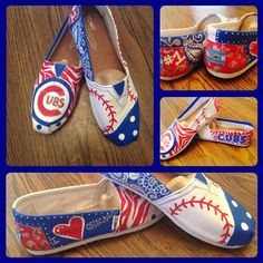 Handmade Chicago Cubs TOMS shoes from Etsy!  I MUST purchase these!