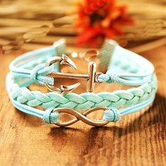 bracelet---1pc silver anchor with infinity leather  bracelet  --turquoise braclet-boho bracelet-personalized bracelet on Etsy, $4.99