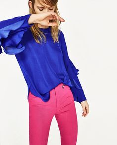 BLOUSE WITH FRILLED SLEEVE-NEW IN-WOMAN | ZARA United States