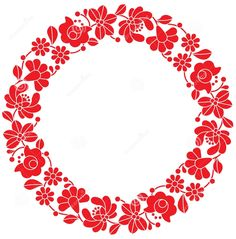 Kalocsai Red Embroidery In Circle - Hungarian Floral Folk Pattern Stock Illustration - Illustration of frame, fabric: 52558021 Polish Embroidery, Hungarian Embroidery, Hand Embroidery Designs, Embroidery Patterns, Stitch Head, Chain Stitch Embroidery, Vintage Jewelry Crafts, Stencil Painting, Floral Border