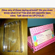 A fun 10 minute up cycling project for an old cassette tape holder. Scrapbook paper and ribbon.