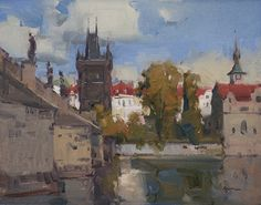 Old Town Bridge Tower by Ken Spencer Oil ~ 11 x 14