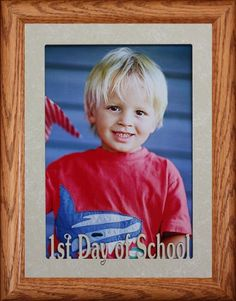 5x7 JUMBO ~ 1st DAY OF SCHOOL Portrait Picture Frame ~ Laser Cream Marble Mat with FRUITWOOD Stained Oak Frame ~ Wonderful Keepsake Frame for a Childs Cherished Milestone! 5x7 Picture Photo Portrait FRUITWOOD Stained Oak Frame with Laser Cut Cream Marble Mat.. Holds your FULL size Portrait 5x7 picture, actual opening dimensions 4.5 x 6.5. Overall outside frame dimensions 7x9.. E-Z Bendable t... #PersonalizedbyJoyceBoyce.com #Home