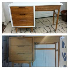 Before and After - Mid Century Modern Desk painted white with refinished wood drawers Refinished Desk, Refurbished Furniture, Repurposed Furniture, Desk Makeover, Furniture Makeover, Diy Furniture, Office Furniture, Bedroom Furniture, Mid Century Modern Desk