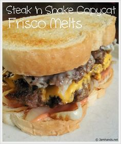 Steak 'n' Shake Frisco Melts Copycat Oh my gosh i love these. steak & shake frisco melt copycat re Think Food, I Love Food, Good Food, Yummy Food, Copycat Recipes, Beef Recipes, Cooking Recipes, Recipies, Good Hamburger Recipes