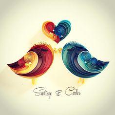 Quilled love birds by Sena Runa Quilled Paper Art