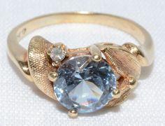 AQUAMARINE & DIAMOND .02 CT. 10K YELLOW GOLD RING SIZE 8.25