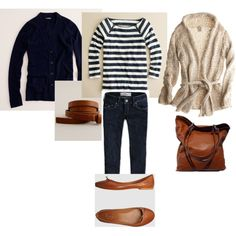 Cardigan Coats, stripes, straight jeans, leather ballet flats, created by travelstyle on Polyvore