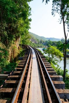 Part of the River Kwai Rail Track running through the countryside in Kanchanaburi, Thailand