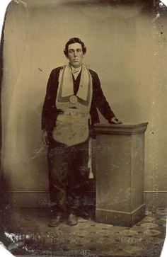 ca. 1860-80's, [hand tinted tintype portrait of a listless Freemason]  via Ebay