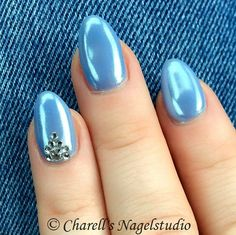 Ice White Blue Nails