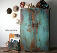 The Turquoise Iris ~ Vintage Modern Hand Painted Furniture: Bohemian Vintage Wardrobe Hand Painted in Sante Fe Turquoise & Windsor Blue