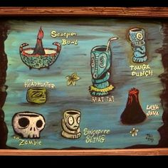 tikitony: Painted this Tiki Drinks menu a few years back in hopes of getting hired to illustrate a menu for a tiki restaurant or bar.