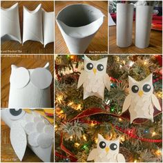 Cheep Diy Owl ornaments made out of toilet paper rolls! More A white snow owl ornament craft Harry Potter Christmas Decorations, Diy Christmas Decorations Easy, Diy Christmas Ornaments, Owl Decorations, Owls Decor, Owl Crafts, Christmas Projects, Holiday Crafts, Owl Ornament