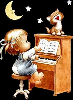 Ruth Morehead ~ Sing a song unto the Lord from the bottom of your heart! Vintage Cards, Vintage Images, Here Kitty Kitty, Digi Stamps, Cat Art, Art For Kids, Decoupage, Cute Pictures, Art Photography