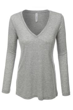 Lightweight Basic V Neck Long Sleeve Shirt