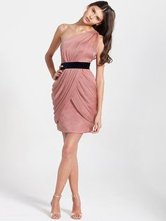 Sheer-Chiffon Overlay One Shoulder Belted Dress | Plus and Petite sizes available! Hundreds of styles, tons of colors!