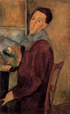 "Amadeo Modigliani self-portrait. ""+ What I am seeking is not the real and not the unreal but rather the unconscious, the mystery of the instinctive in the human race."""