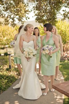 LulaKate bridesmaids dresses in a shade of moss green Photography by Carlie Statsky Photography / carliestatsky.com