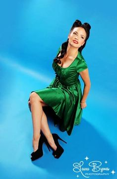Evelyn Dress in Green Satin by Pinup Couture | Pinup Girl Clothing