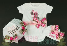 PERSONALIZED Bodysuit Onesie Diaper Cover Bloomer and Beanie COMING HOME Outfit for Little Baby Girls - Custom
