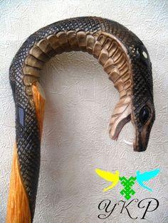 """Cane, Walking Sticks  """"Cobra"""" Wooden Handmade Ukraine  Vintage Accessories   eBay!"""