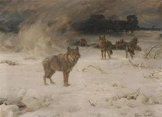 Alfred von Wierusz-Kowalski - Wölfe im Schneesturm