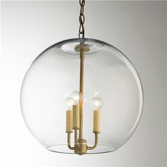 "16"" Clear Glass Sphere Chandelier Available in 3 Colors: Aged Brass, Bronze…"