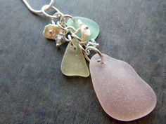 Pink Sea Glass Necklace Jewelry Yellow by TheMysticMermaid on Etsy
