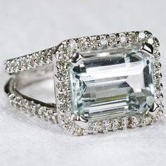 Ravishing 5ctw Natural Aquamarine Diamond Ring 14k Gold Estate Appraisal