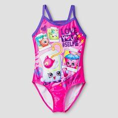 Shopkins Girls' One Piece Swimsuit - Diva Pink : Target