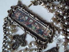 Last Supper Vintage Rosary Beads Scapular Cross by MockiDesigns, $175.00