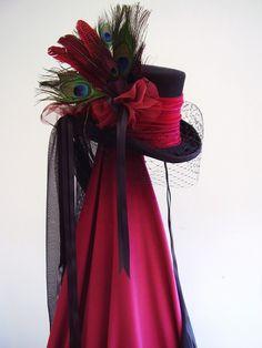 Lady Philamae's wedding hat steampunk black & red velvet riding hat