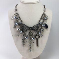 Rhinestone Statement Bling Necklace Assemblage Multiple Chains Glass Beads Keys Rebel BoHo Steampunk Biker OOAK Reclaimed Bowtie Vintage.  Miss LeShawn