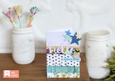 Say hello with a cute card! This card features darling elements from Shimelle's Little by Little collection.