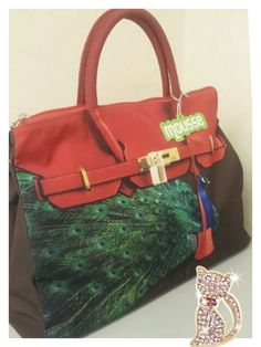 Mousse printed bag - peacock in red pattern Size : L39 x H27 x W18cm Price : US$79 Material: Polyester