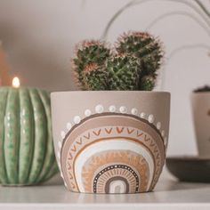 Cactus Plant Pots, Ceramic Plant Pots, Potted Plants, Painted Clay Pots, Hand Painted Ceramics, Painted Flower Pots, Pots D'argile, Terracota, Diy Canvas Art