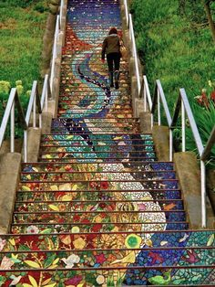 The 16th Avenue Tiled Steps project has been a neighborhood effort to create a beautiful mosaic running up the risers of the 163 steps located at 16th and Moraga in San Francisco. The result is fantastic!