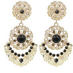 Claudia Baldazzi Jewels - La Boule Earrings Jet (700 RON) ❤ liked on Polyvore featuring jewelry, earrings, safety pin jewelry, nickel free jewelry, jewel kade jewelry, swarovski crystal earrings and pandora jewelry