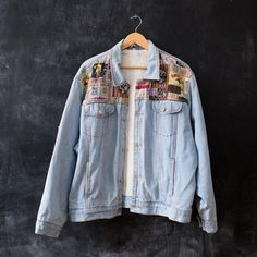 Vintage PATCHWORK Denim Jacket . Traveler Light by BetaMenswear