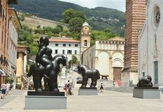 Sculptures by Colombian artist Fernando Botero are displayed in a square of Pietrasanta in Tuscany