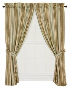 """Ellis Curtain Kensington Stripe 68-By-54 Inch Tailored Panel Pair Curtains with Tiebacks, Blue by Ellis Curtain. $29.00. Panel is constructed with a 1.5"""" rod pocket, 2.5"""" header, and 5"""" bottom hem; sold in pairs (2 panels). Made with 52-percent polyester/48-percent 5-ounce cotton duck fabric creates a smooth draping effect, soft texture and easy maintenance. Width is measured overall 68"""" per pair of panels (both 34"""" panels together) Length is measured overall 54""""..."""
