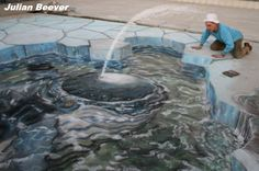Street Painting has been recorded throughout Europe since the century. Street Painting is also known as Pavement Art, Chalk Art, Sidewalk Art. Take a look at the best Street Paintings ever! 3d Street Art, Street Art Artiste, 3d Street Painting, Amazing Street Art, Amazing Art, Awesome, Chalk Artist, 3d Chalk Art, Illusion Kunst